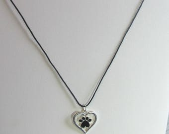 Pawprint framed in heart charm necklace