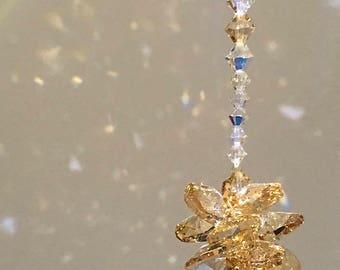 Swarovski Crystals, Glass Sun Catcher, Crystal Car Charm, Suncatcher, Glass Ornament, Hanging Crystals, Rainbow Prisms, Glass Art, 8847