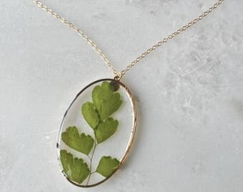 Gold Pressed Maidenhair Fern Necklace Pressed Flower Jewelry Botanical 14k Gold Fill Chain