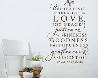 SALE The fruit of the Spirit wall decal LIGHT GRAY  Christian wall decal - Christian wall art - christian home decor
