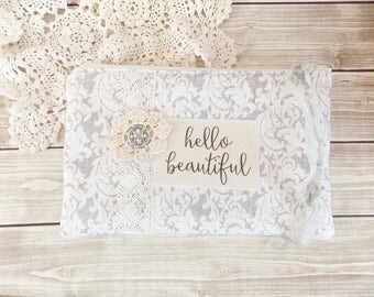 Reserved for Rosann Shabby Grey Damask and Lace Hello Beautiful Inspiration Zipper Pouch