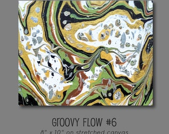Groovy Abstract Acrylic Flow Painting #6 Ready to Hang 8x10