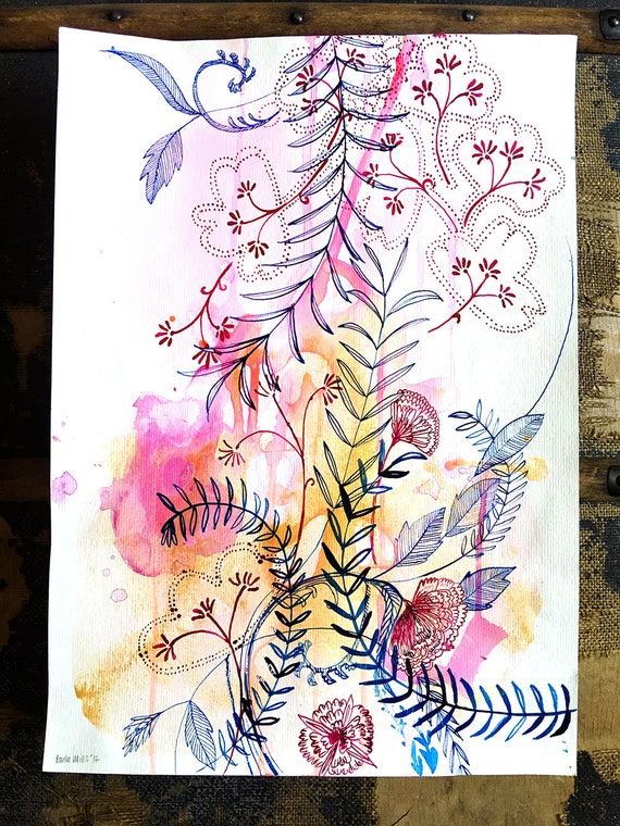 Original watercolor and ink painting on paper Floral Forms No.1 artwork by Paula Mills