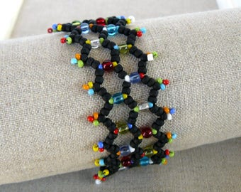 Lacy Black and Multi Colored Bracelet, Colorful Netted Beadwork Cuff, Bright Colorful Jewelry, Beadwoven Jewelry