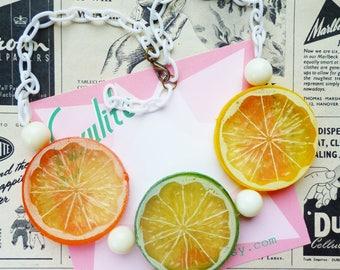 Zingy Citrus! Jumbo Lemon, Orange or Lime slice necklace 1940's 1950s novelty style by Luxulite
