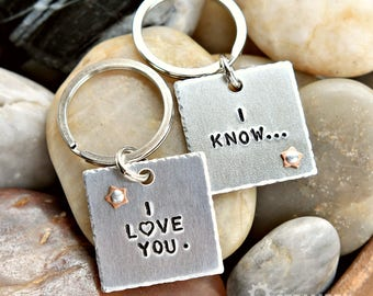 I Love You, I Know Star Wars Inspired Couples Key Chains - Anniversary Gift - Wedding Gift - Valentines Day - Same sex couples Gift - Unisex