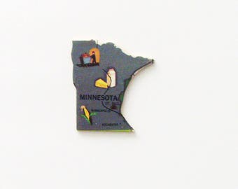 1961 Minnesota Brooch - Pin / Unique Wearable History Gift Idea / Upcycled Vintage Wood Jewelry / Timeless Gift Under 25