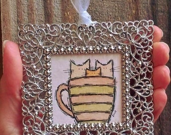 "The Best Purrart of Waking Up - Cats in Coffee Cup Mini Framed Cat Painting - 2x2"" Watercolor and Ink Miniature Painting - Original Cat Art"