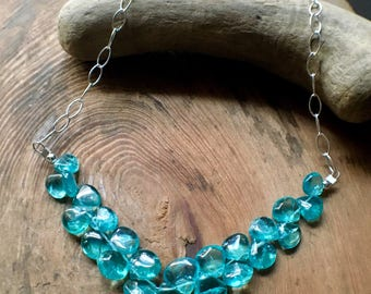 Apatite Necklace, Apatite Sterling Silver Necklace, Apatite Briolette Necklace