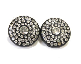 Super Sparkly Rhinestone Earrings/ Black and Crystal/ Vintage Clip Ons
