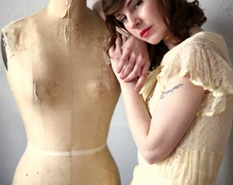 1920s Organza Dress in Yellow