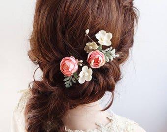 bridal hair clip, flower hair pin, coral pink hair clip, bridal hair piece, pink flower hair clip, floral hair pins, wedding hair pins, rose