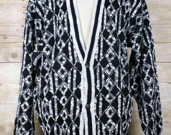 Vintage Black White Acrylic Knit  Pattern Cardigan Sweater Mens XLT 1980s Oakton Limited