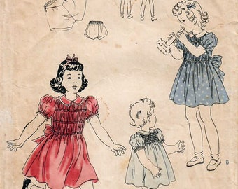 1940s Vogue 2209 Vintage Sewing Pattern Girl's One Piece Dress, Party Dress, Shirred Dress, Panties Size 4