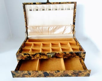 Mid Century Mele Jewelry Box Chest, Large Valet Organizer, faux tortoise shell, Ladies dresser display