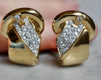 Guy Laroche Gold and Pave Rhinstone Buckle Earrings