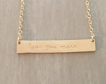 Love You More--14kgf Horizontal Bar Necklace
