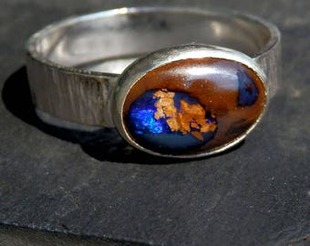 Australian opal ring / blue Australian boulder opal ring / October birthstone ring / opal jewelry / natural opal / opal ring / ready to ship
