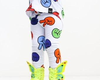 Second Birthday Leggings, 2nd Birthday, Two Leggings, Peace Leggings, Rainbow leggings, 2 Year Old Gift, Girl's Leggings, Cute, bright, neon