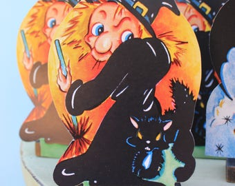 Vintage Halloween, Place Card, Party with Witch and Black Cat, ONE