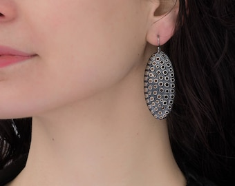 Perforated Sterling Silver Earrings, Large Ovals, Antiqued, 5cm high