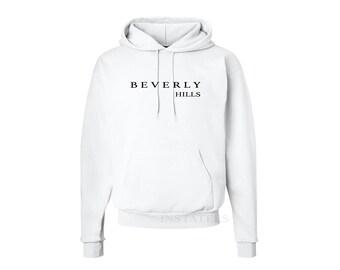 Tumblr Soft Style Beverly Hills White Hooded Sweatshirt