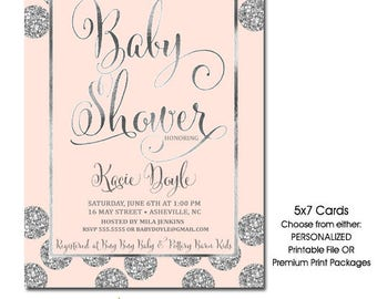 Pink and Silver Baby Shower Invitation | Pink Silver Glitter Shower Invite | Girl Baby Shower Invitation | Printable Digital or Printed