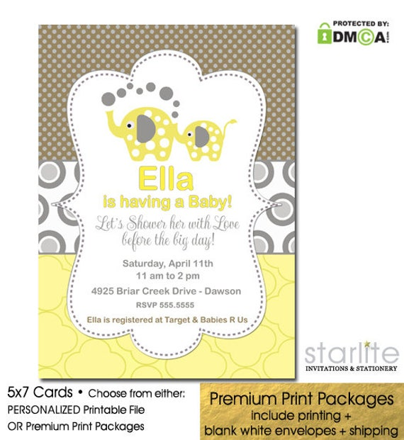 Elephant Baby Shower Invitation Gender Neutral Printable Baby