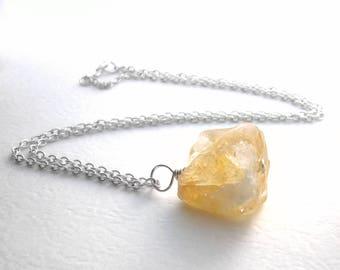 Raw Citrine Necklace, Natural Stone Jewelry, November Birthstone Crystal