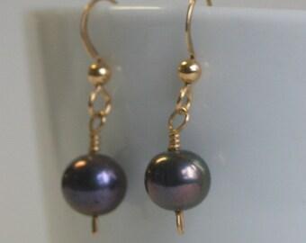 Gold Filled Black Pearl Earrings Black Pearl Earrings Gold Filled Earrings Gold Black Pearl
