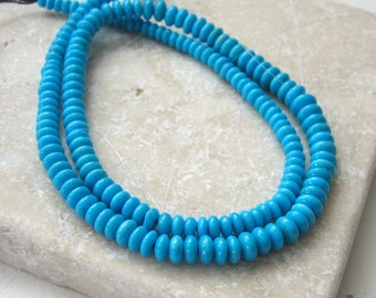Sleeping Beauty Turquoise Polished Rondelle Beads 3.25 to 5.25mm - Full Strand, Half Strand, Quarter Strand