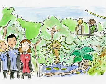 No, no, that's Dr. jorvik, our chief botanist. - an original ink illustration inspired by The Orville