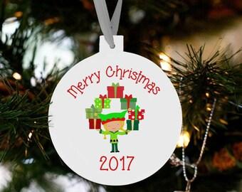 Santa's  girl elf Christmas ornament - kids toddlers girls custom ornament EGO