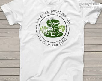 St. Patrick's Day happy st patricks day adult unisex tshirt - perfect for St. Pat's parade and parties SNLS-053