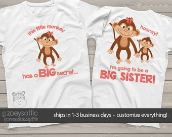Big sister shirt - big sister to be pregnancy announcement shirt MONKEY secret MMNK-002