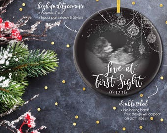 Pregnancy Ornaments, Sonogram Ornaments, New Baby Holiday Ornaments, Baby Ultrasound Ornaments, We're Pregnant Ornament / C-P126-OR AA9 LIN1