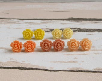 Dainty Rose Stud Earrings, Honey Yellow, Orange Earrings, Coral Peach Rose, Flower Girl Jewelry