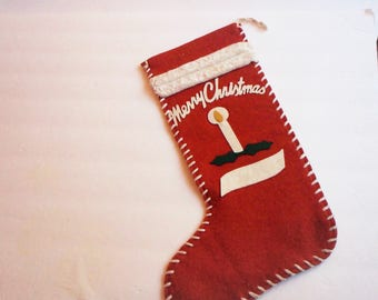"Vintage ""Merry Christmas"" Stocking"