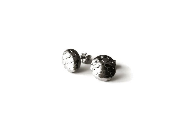 10mm charcoal mermaid stud earrings - Hypoallergenic pure titanium and resin