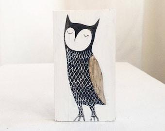 Miniature Original Painting,  Wooden Block - Owl