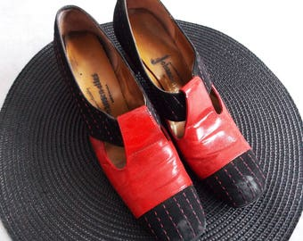 1960s mod red black suede shoes / 60s red patent leather heels Johansen / 60s gogo party loafer shoes