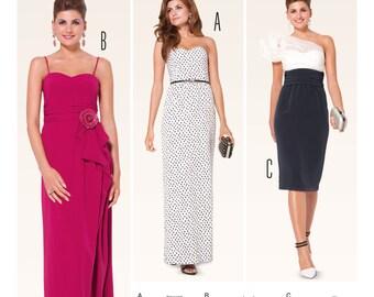 OOP Formal Dress, Floor and Calf length Evening Dress Pattern - Burda 6939 Sewing Pattern, UNCUT  US Sizes: 6 -8 -10 -12 -14 -16 -18