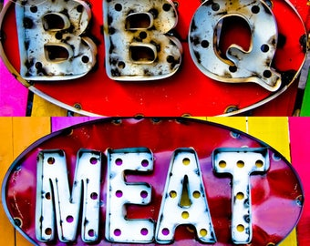 Barbecue Meat BBQ COLOR Square Print, Kitchen, Restaurant, Art, Neon Color, Colors, Bold, Bright, Food, Grill, Fun