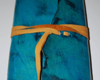 """Turquoise 9 x 6"""" leather journal with tie - great for dreams, travel stories and sketching"""