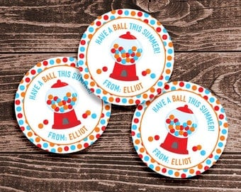 Personalized Last Day of School Tags or Stickers – 2, 2.5 or 3 Inch Circle – DIY Printable – Gumball Red (Digital File)
