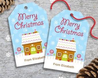 Personalized Christmas Gift or Favor Hang Tags - DIY Printable - Gingerbread House (Digital File)