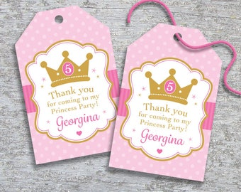 Personalized Princess Party Favor Tags – DIY Printable – Fairytale Castle – Princess Crown (Digital File)