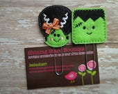 Planner Accessories - Lime Green And Black Bride Of Frankie And Frankenstein Halloween Paper Clip Or Bookmark Set - Holiday Accessory