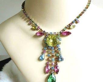 Multi-Color Rhinestone Bib Necklace Vintage Rainbow of Colors Dangle Pendant