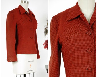 Vintage 1940s Jacket - Bold Deep Red and Black Houndstooth Wool 40s Jacket with Faux Chest Pocket